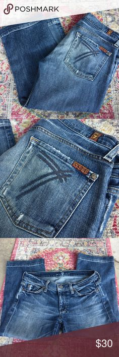"""7 for all mankind dojo cropped jeans size 30 7 for all mankind dojo distressed cropped jeans size 30  inseam 21"""" gently loved 7 For All Mankind Jeans Ankle & Cropped"""