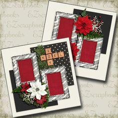 Joy Noel - 2 Premade Scrapbook Pages - EZ Layout 4444 Scrapbook Layout Sketches, 12x12 Scrapbook, Scrapbook Templates, Vintage Scrapbook, Scrapbook Designs, Scrapbook Frames, Christmas Scrapbook Layouts, Scrapbooking Ideas, 3 D