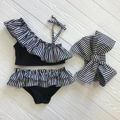 Best 12 Baby bikini bottom with an adorable head bow. Black and white color. Used fabric: nylon (polyester/spandex), cotton. It is a great birthday outfit. Can be worn as an black costume or just as beautiful underwear to lay on a beach, pool. Baby Bikini, Baby Girl Swimsuit, Baby Girl Dresses, Baby Dress, Baby Girl Fashion, Kids Fashion, Fashion Clothes, Fashion Fashion, Latest Fashion