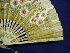 where can i purchase hand held fans | fan hand held folding rice paper leaf hand painted with stylized ...