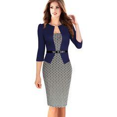 Mulheres de Outono Elegante Xadrez Vestidos de Negócios Formais Lápis Escritório…