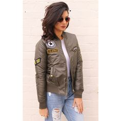 One Nation Clothing Badged ma1 Detail Padded Bomber Jacket in Khaki... (£52) ❤ liked on Polyvore featuring outerwear, jackets, green, khaki bomber jacket, bomber jacket, green flight jacket, bomber style jacket and flight jacket