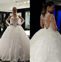 This unique long sleeve wedding gown has a sheer back and sleeves with ornate embroidery. We can make ball gown #weddingdresses for you like this with any modifications that you need to make it work for your special day. We also can make #inspiredweddingdresses that are based on a couture design that will look the same but cost way less than the original.  Contact us for detaisl on our process and pricing at www.dariuscordell.com/