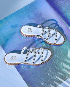 e936dd4a217f Ash POP Sandals Ice Blue Leather Gold Studs