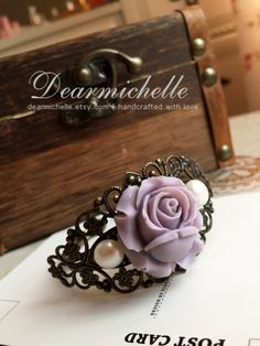 Royal Remembrance (Lavender) - Victorian Style Bridal Antique Royal Rose Hand Cuff Bracelet with Freshwater Pearls, Romantic Statement Piece