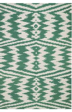 green and white rug