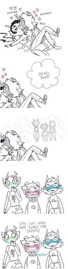 homestuck latest update parody X3 meenah x vriska! funny comic strip! vriska, karkat, and terezi