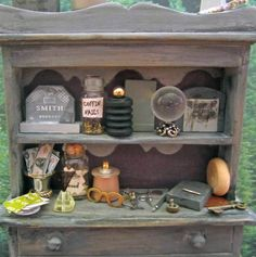Miniature Enchanted Hutch Wizard of Relocation Fantasy Miniature Dollhouse Furniture Artist Made OOAK. $60.00, via Etsy.