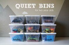 With a baby on the way weeks left!), I've been trying to cross everything off my very long to do list. A big thing on that list was quiet bins full of activities to help keep B entertained… Quiet Time Activities, Activities For 2 Year Olds, Infant Activities, Learning Activities, Preschool Activities, Preschool Learning, Baby Activites, Teaching, Family Activities