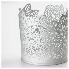 IKEA - SAMVERKA, Tealight holder, white, The SAMVERKA series has a nice pattern with birds and leaves that adds a romantic touch to your plants and candles. The warm light from the candle shines decoratively through the pattern on the candle holder. Tree Themed Wedding, Ikea Shopping, Recycling Facility, Silhouette Cutter, Home Fix, Flat Ideas, Tea Light Holder, White Art, Porta Velas