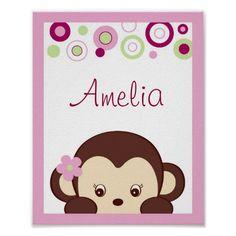 Girl Monkey Dot Nursery Wall Art Name Print