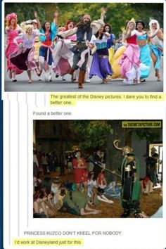 """Princess Kuzco don't kneel for nobody!"" This is the most fantastic thing."
