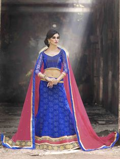 Blue Jacquard Net Lehenga Choli with Embroidery Work