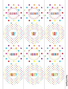 FREE printable polka dot party tags and water bottle labels