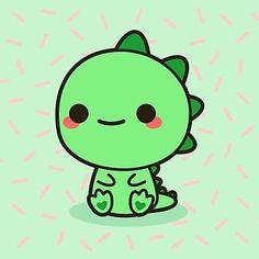 Kawaii dinosaur Art Print by peppermintpopuk Cute Animal Drawings Kawaii, Cute Little Drawings, Cute Cartoon Drawings, Cute Easy Drawings, Dinosaur Drawing, Dinosaur Art, Cute Dinosaur, Griffonnages Kawaii, Arte Do Kawaii
