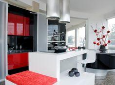 XY Cozinha Lacado Brilho Preto, Vermelho e Branco ¨¨ XY Kitchen Black, Red and White Glossy Lacquered ¨ XY Cuisine Laqué Noir, Rouge et Blanc Brillant