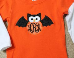 Orange and White Layered look t hsirt with Halloween Owl Bat with Monogram…