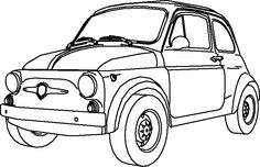 Fiat 500 Car, Car Drawings, Colouring Pages, Line Drawing, Silhouette Cameo, Motorbikes, Illustrations, Classic Cars, Stickers