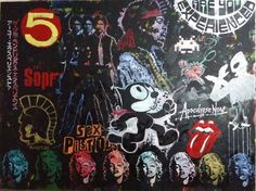 Large Wall Art Canvas Painting Original Pop Art Painting by Matt Pecson 108x72 Original Painting Jimi Hendrix Marilyn Monroe Urban Art