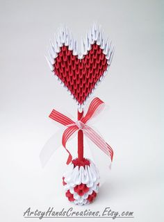 3d Origami Heart Topiary 3d Origami Heart by ArtsyHandsCreations