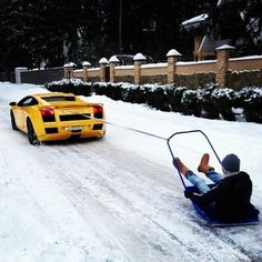 Rich people sledding.