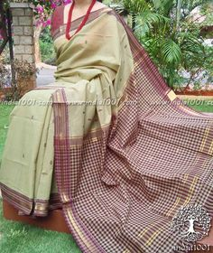 Woven Andhra Cotton Saree with checks palla(without BP)