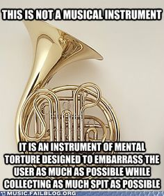 This Is Not a Musical Instrument <<< As a French Horn player, I completely agree Funny Band Memes, Marching Band Memes, Band Nerd, Band Puns, Music Jokes, Music Humor, Funny Music, Mellophone, Band Problems
