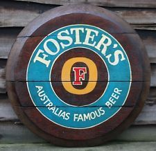 FOSTER'S - AUSTRALIA'S FAMOUS BEER Wooden Pub Sign - Hand Painted Oak Barrel End