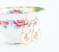 Gold Dangle Earrings Dusty Pink Beads Bohemian by JacarandaDesigns, $22.00