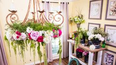DIY a Wedding Flower Chandelier! Project by @kennethwingard & @cristinacooks! Catch #homeandfamily weekdays at 10/9c on Hallmark Channel!