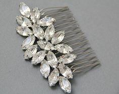 Wedding Hair Comb  Crystals Bridal Comb Veil by LavenderByJurgita