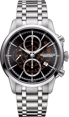 Hamilton Watch American Classic Timeless Classic Rail Road Chrono #bezel-fixed #bracelet-strap-steel #brand-hamilton #case-material-steel #case-width-44mm #chronograph-yes #date-yes #delivery-timescale-call-us #dial-colour-black #gender-mens #luxury #movement-automatic #official-stockist-for-hamilton-watches #packaging-hamilton-watch-packaging #style-sports #subcat-american-classic-timeless-classic #supplier-model-no-h40656131 #warranty-hamilton-official-2-year-guarantee #water-resistant-50m