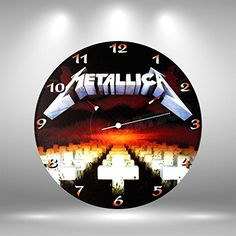 """Metallica Vinyl record clock - Handmade original gifts & home decoration. -As shown in the pictures, all labels correspond to the disc design. -The clocks require 1 AA battery (not included). -As shown in the pictures, all clocks include a built in foam hanger and are shipped in a secure double board box. -The diameter of the clocks are 12"""" (30cm). -You can ask for your own designs. Please contact us."""