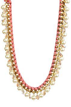 Gold / Leather / Swarovski / Pearl Necklace