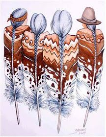 Super Ideas for wall painting ideas indian art Feather Painting, Feather Art, Tattoo Feather, Native American Paintings, Native American Indians, Native American Drawing, Native American Patterns, Native Americans, Native American Symbols