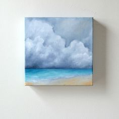 Seascape oil painting original art clouds home por Stormscapestudio