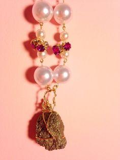 Rough PYRITE necklace natural PYRITE gemstone by GirlyCutie #pyrite #necklace #gemstone #healing_stone #rough_gemstone #jewelry #handmade #wonderful #love #amazing #cool #beautiful #fashion #accessory #stone #pearls #pearl_necklace #rhinestone #lovely #handcrafted
