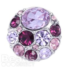Silver Plated Interchangeable Snap On Disk with Purple and Amethyst Crystals 20mm Pk1