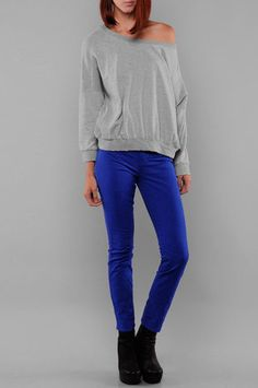 Ribbed Knit Sweater in Grey $24 at - love the shirt...and the pants!