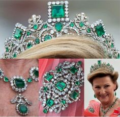 A close up of the Norwegian emerald tiara taken during the wedding celebrations of Crown Princess Victoria of Sweden in 2010.