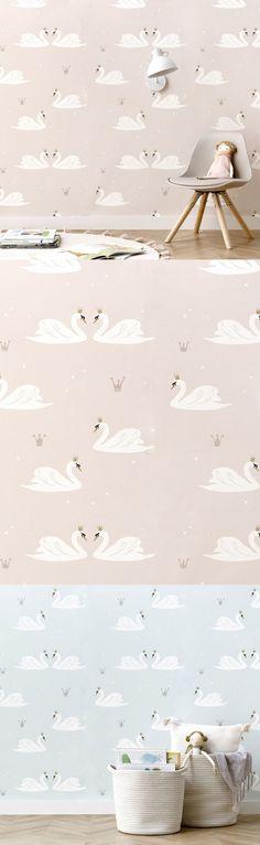 Swans papel pintado | Una habitación llena de fantasía.  Swans es un papel pintado en tonos rosas de estilo romántico que tiene como elemento principal a unos bonitos cisnes con corona dorada. Un diseño que llenará de fantasía habitación de tus peques.  * Este diseño está realizado en material Non Woven. Las instrucciones para su correcta colocación se encuentran en el reverso la etiqueta que encontrarás en el interior de cada rollo de papel pintado. Girl Room, Girls Bedroom, Wallpaper Rosa, Interior, Swans, Decoration, Modern, Gold Crown, El Dorado
