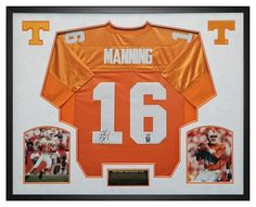 50e617625 Peyton Manning Autographed Tennessee Jersey Framed in Custom Shadow Box  Frame - Mounted Memories Hologram