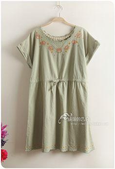 5195 Sen female summer new cotton delicate embroidered flowers wave edge short sleeve drawstring waist dress - Taobao