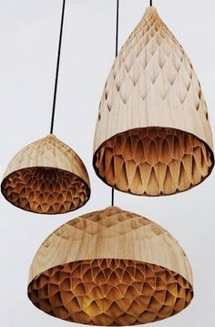 BAMBOO LAMPSHADES. Fast growing sustainable source of wood. I also love the honeycomb pattern.