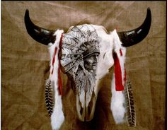 by dyke roskelley Deer Antler Crafts, Antler Art, Bull Skulls, Deer Skulls, Deer Decor, Rustic Decor, Painted Animal Skulls, Cow Skull Art, Eskimo
