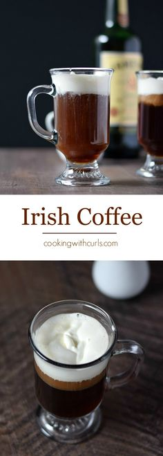 Traditional Irish Coffee made with Irish Whiskey, raw sugar, fresh coffee and whipped cream for the perfect cold weather treat | cookingwithcurls.com