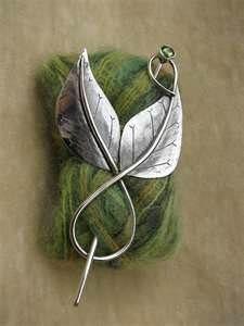 Silver Leaf Shawl Pin