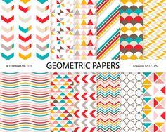 Geometric Digital Paper Pack, 12 digital papers geometric patterns in bright colors - BR 171