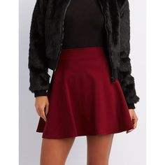 Charlotte Russe Ponte Knit Skater Skirt ($17) ❤ liked on Polyvore featuring skirts, red, high-waisted skater skirts, flared skirt, red flare skirt, circle skirt and charlotte russe