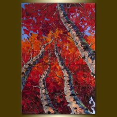 Original Tree Art Seasons Textured Palette Knife Landscape Painting Oil on Canvas Contemporary Abstract  Modern Art 20X30 by Willson